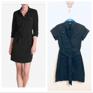 Banana Republic Black Belted Button Up Dress